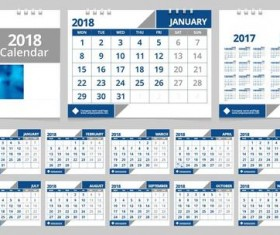 Desk 2018 calendar template blue vector