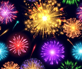 Different color firework effect vector