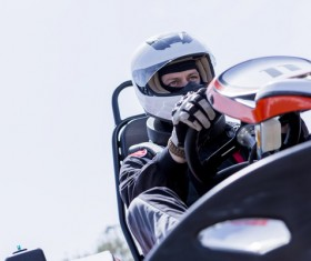 Driving Kart Racing man Stock Photo 02