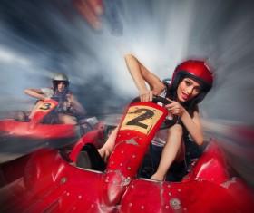 Driving kart racing girl Stock Photo 01