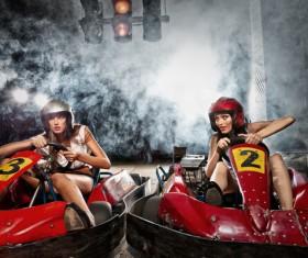 Driving kart racing girl Stock Photo 02