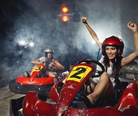 Driving kart racing girl Stock Photo 03