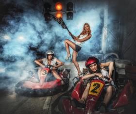 Driving kart racing girl Stock Photo 04