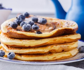 Embellishment delicious blueberry pancakes Stock Photo 02
