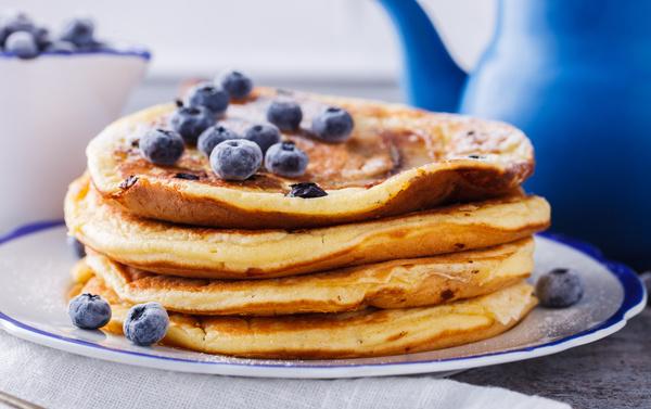 Embellishment delicious blueberry pancakes Stock Photo 02