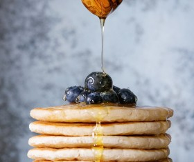 Embellishment delicious blueberry pancakes Stock Photo 03