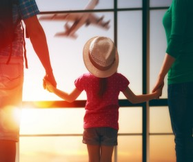 Family waiting for boarding Stock Photo