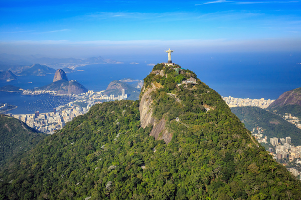 Filming the mountain Jesus of Rio de Janeiro from different angles Stock Photo 02