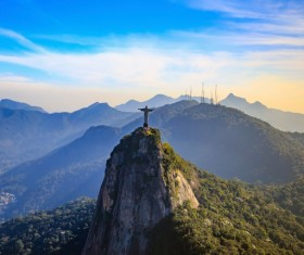 Filming the mountain Jesus of Rio de Janeiro from different angles Stock Photo 03