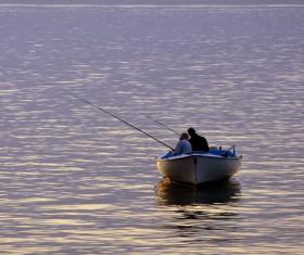 Fishing in the lake Stock Photo