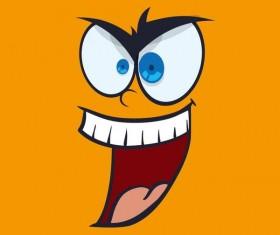 Funny cartoon face expression design vector 09