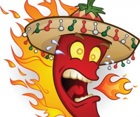 Funny cartoon pepper characters vector 03