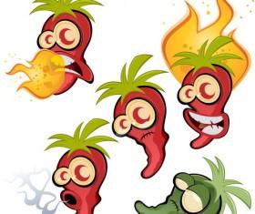 Funny cartoon pepper characters vector 04