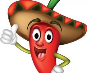 Funny cartoon pepper characters vector 06