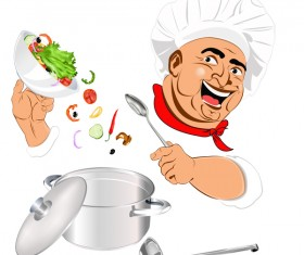 Funny chef vector material 01