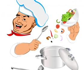 Funny chef vector material 02