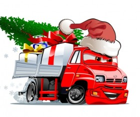 Funny chrismtas red truck vector design 01