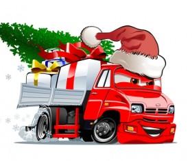 Funny chrismtas red truck vector design 01