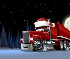 Funny chrismtas red truck vector design 02