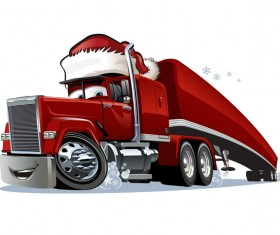 Funny chrismtas red truck vector design 03