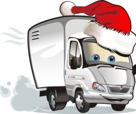 Funny chrismtas red truck vector design 04