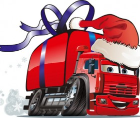 Funny chrismtas red truck vector design 05