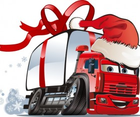 Funny chrismtas red truck vector design 06