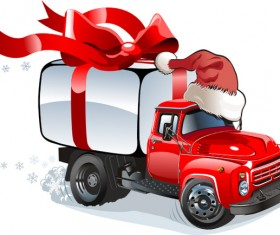 Funny chrismtas red truck vector design 07