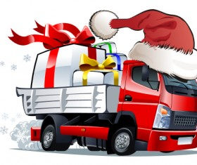 Funny chrismtas red truck vector design 08