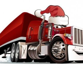Funny chrismtas red truck vector design 09
