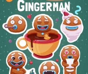 Funny christmas sticker design vector 01
