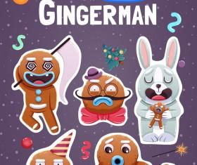 Funny christmas sticker design vector 02