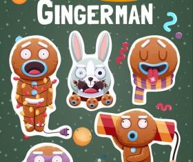 Funny christmas sticker design vector 03