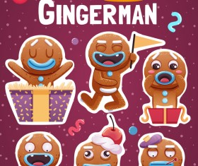 Funny christmas sticker design vector 04