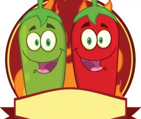 Funny red with green cartoon pepper vector