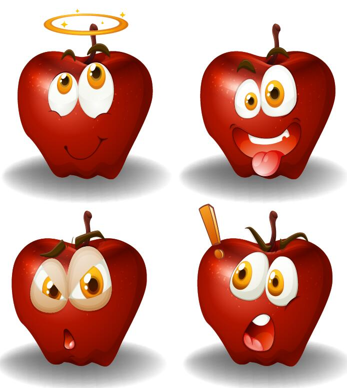 Funy apple facial expression icons