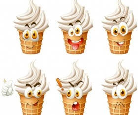 Funy ice cream facial expression icons