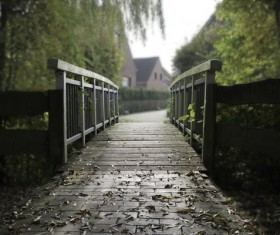 Garden small wooden bridge Stock Photo