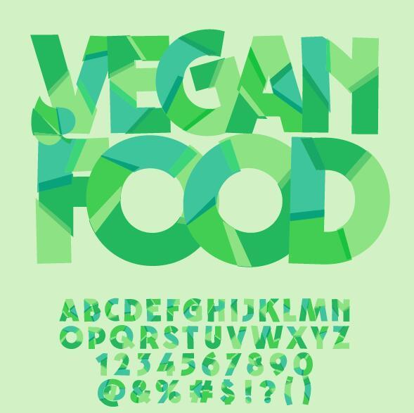 Geometric shape green alphabet vector