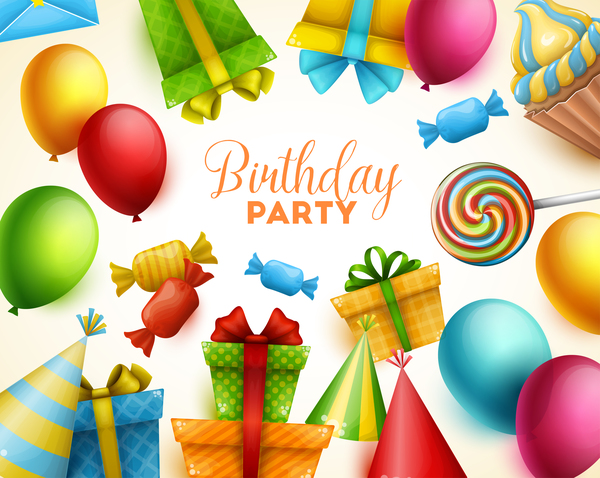 Gifts and sweets with birthday party background vector 01