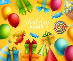 Gifts and sweets with birthday party background vector 03