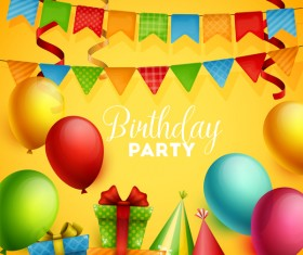 Gifts and sweets with birthday party background vector 04