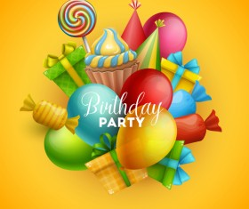 Gifts and sweets with birthday party background vector 05