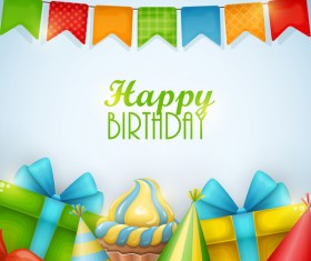 Gifts with birthday background vector