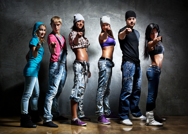 Girl and boy dancing hip-hop Stock Photo free download