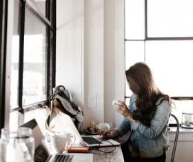 Girl drinks coffee Internet Stock Photo