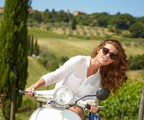Girl riding motorcycle Stock Photo