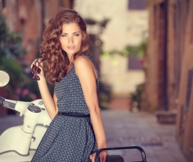 Girl sitting on the motorcycle Stock Photo 01