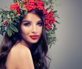Girl wearing wild berry wreath Stock Photo 01