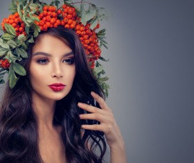Girl wearing wild berry wreath Stock Photo 03